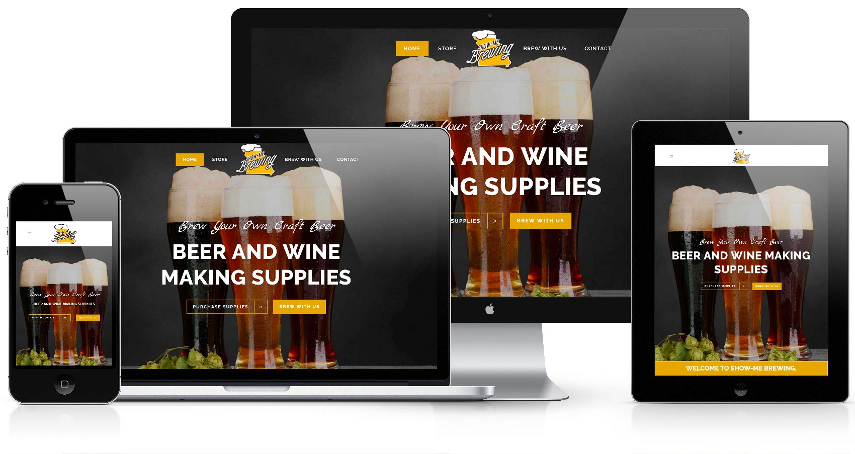 show me brewing website_desktop mobile responsive retina