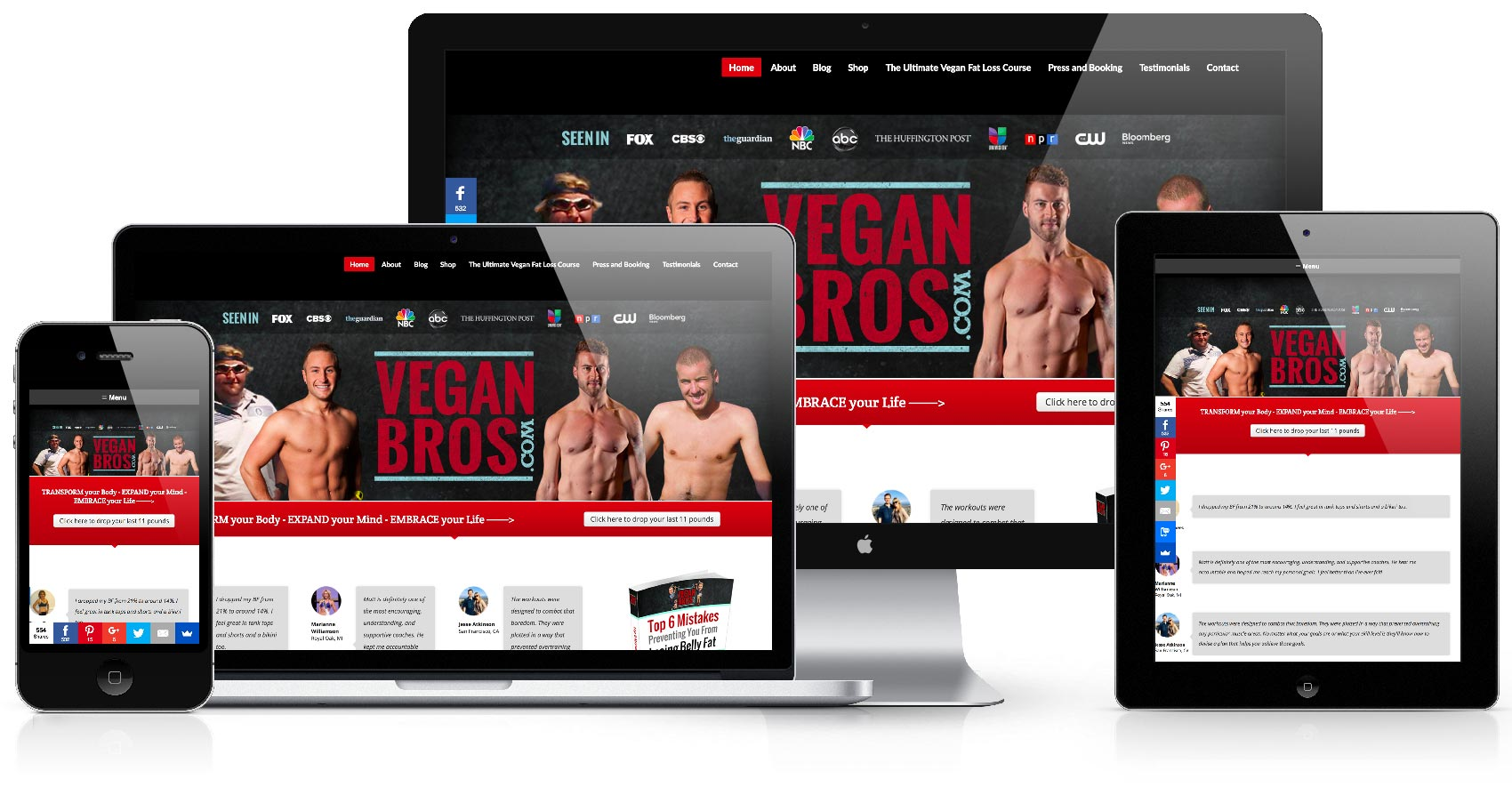 vegan bros website desktop mobile responsive retina